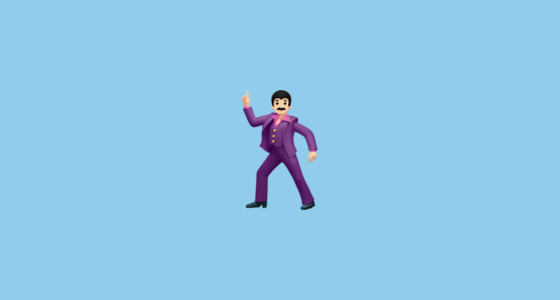 Man Dancing With Pale Skin Tone Emoji