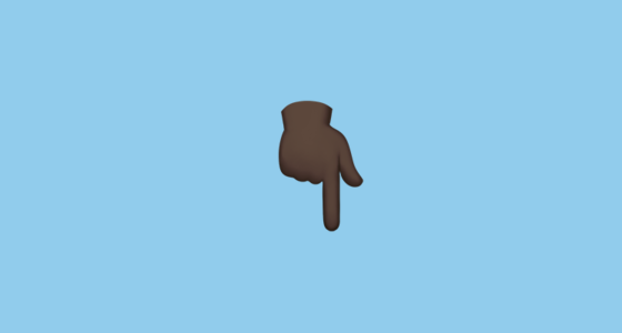 White Down Pointing Backhand Index With Black Skin Tone Emoji