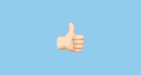 thumbs up sign with pale skin tone emoji