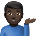 Man Tipping Hand: Dark Skin Tone on Apple iOS 11.3