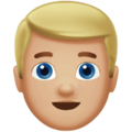 Man: Medium-Light Skin Tone, Blond Hair on Apple iOS 12.1