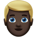 Man: Dark Skin Tone, Blond Hair on Apple iOS 12.1