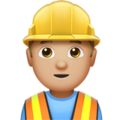 Man Construction Worker: Medium-Light Skin Tone on Apple iOS 12.1