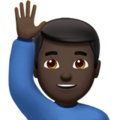 Man Raising Hand: Dark Skin Tone on Apple iOS 12.1