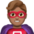 Man Superhero: Medium Skin Tone on Apple iOS 12.1