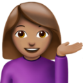 Woman Tipping Hand: Medium Skin Tone on Apple iOS 12.1