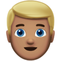 Man: Medium Skin Tone, Blond Hair on Apple iOS 12.2