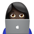 Woman Technologist: Dark Skin Tone on Apple iOS 12.2