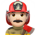 Man Firefighter: Light Skin Tone on Apple iOS 12.2