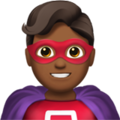 Man Superhero: Medium-Dark Skin Tone on Apple iOS 12.2