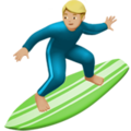 Man Surfing: Medium-Light Skin Tone on Apple iOS 12.2