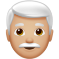 Man: Medium-Light Skin Tone, White Hair on Apple iOS 12.2