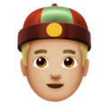 Man With Chinese Cap: Medium-Light Skin Tone on Apple iOS 12.2