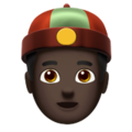 Man With Chinese Cap: Dark Skin Tone on Apple iOS 12.2