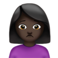 Person Frowning: Dark Skin Tone on Apple iOS 12.2