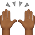 Raising Hands: Medium-Dark Skin Tone on Apple iOS 12.2