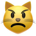 Pouting Cat Face on Apple iOS 12.2