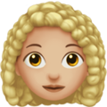 Woman: Medium-Light Skin Tone, Curly Hair on Apple iOS 12.2