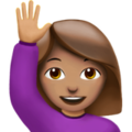 Woman Raising Hand: Medium Skin Tone on Apple iOS 12.2