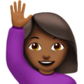 Woman Raising Hand: Medium-Dark Skin Tone on Apple iOS 12.2