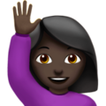 Woman Raising Hand: Dark Skin Tone on Apple iOS 12.2