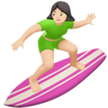 Woman Surfing: Light Skin Tone on Apple iOS 12.2