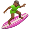 Woman Surfing: Medium-Dark Skin Tone on Apple iOS 12.2