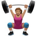 Woman Lifting Weights: Medium Skin Tone on Apple iOS 12.2
