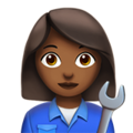 Woman Mechanic: Medium-Dark Skin Tone on Apple iOS 13.1