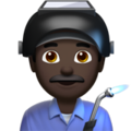 Man Factory Worker: Dark Skin Tone on Apple iOS 13.1