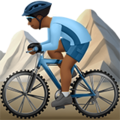Person Mountain Biking: Medium-Dark Skin Tone on Apple iOS 13.1