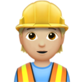 Construction Worker: Medium-Light Skin Tone on Apple iOS 13.2
