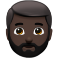 Man: Dark Skin Tone, Beard on Apple iOS 13.3