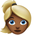 Woman: Medium-Dark Skin Tone, Blond Hair on Apple iOS 13.3