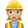 Woman Construction Worker: Medium-Light Skin Tone on Apple iOS 13.3