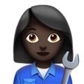 Woman Mechanic: Dark Skin Tone on Apple iOS 13.3