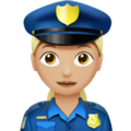 Woman Police Officer: Medium-Light Skin Tone on Apple iOS 13.3