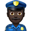 Man Police Officer: Dark Skin Tone on Apple iOS 13.3