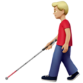 Man with White Cane: Medium-Light Skin Tone on Apple iOS 13.3