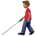 Man with White Cane: Medium Skin Tone on Apple iOS 13.3