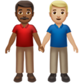 Men Holding Hands: Medium-Dark Skin Tone, Medium-Light Skin Tone on Apple iOS 13.3