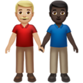 Men Holding Hands: Medium-Light Skin Tone, Dark Skin Tone on Apple iOS 13.3