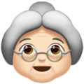 Old Woman: Light Skin Tone on Apple iOS 13.3