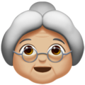 Old Woman: Medium-Light Skin Tone on Apple iOS 13.3