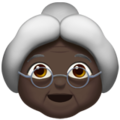 Old Woman: Dark Skin Tone on Apple iOS 13.3