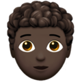 Person: Dark Skin Tone, Curly Hair on Apple iOS 13.3