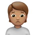 Person Frowning: Medium Skin Tone on Apple iOS 13.3