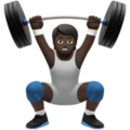 Person Lifting Weights: Dark Skin Tone on Apple iOS 13.3