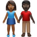 Woman and Man Holding Hands: Medium-Dark Skin Tone, Dark Skin Tone on Apple iOS 13.3