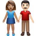 Woman and Man Holding Hands: Medium Skin Tone, Light Skin Tone on Apple iOS 13.3